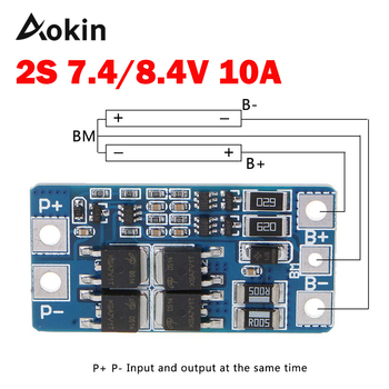 1PCS 2S 10A 7.4V 18650 lithium battery protection board 8.4V balanced function/overcharged protection diy kit 10set lot 18650 lithium battery universal dual mos protection board 4 2v anti overcharged over discharge