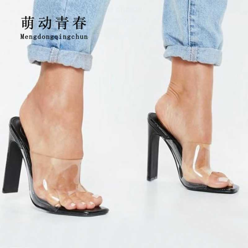 Size 35-40 Women Slippers Sexy Transparents PVC Thick Heels Sandals Casual 11.5cm Heels Summer Outdoors Women's Slippers Shoes