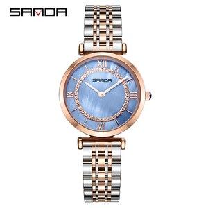 Image 3 - Sanda đồng hồ phụ nữ không thấm nước hoa hồng vàng thép với kim cương mẹ của ngọc trai quay số đầy sao thạch anh người phụ nữ đồng hồ đeo tay relogio feminino