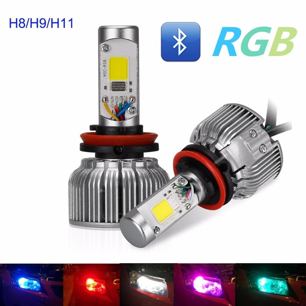 Suparee 2pcs 60w Auto Rgb H8 H9 H11 Headlights Bulb Super