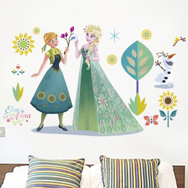 Cartoon Elsa Anna Princess Wall Stickers Home Decor Living Room Disney Frozen