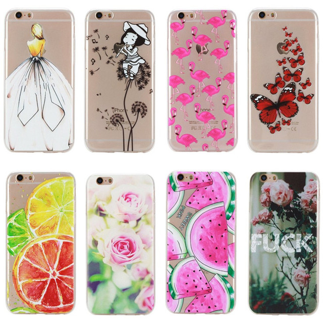 For iPhone 6 Plus Case Cover Silicon Fashion Girl Cat Rose Rubber Phone Bag Coque Capinha For