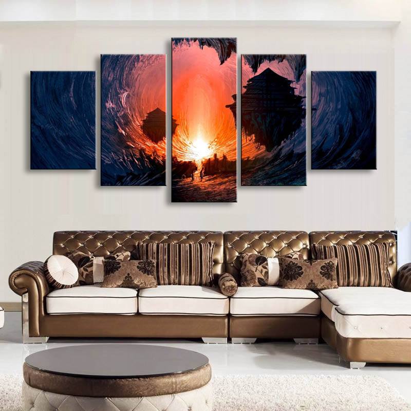 5 pieces high-definition print fantasy Art canvas oil painting poster and wall art living room picture DM-006 (1)