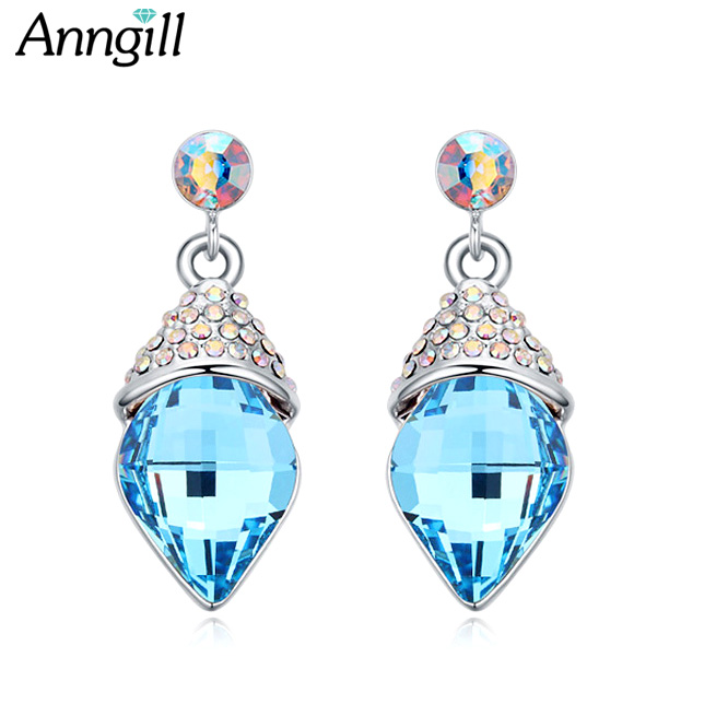 Luxury Elegant Genuine Crystals From Swarovski Earrings For Women Brincos Earings Bijouterie Geometric Dangle Earrings Jewelry