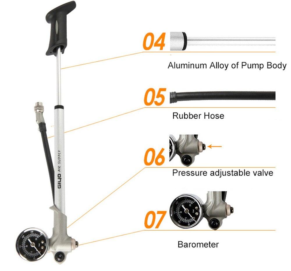 BIke Pump High pressure Inflator Bike Air Shock Pump For Fork & Rear Suspension Cycling Pump Mountain Bicycle Pump With Gauge