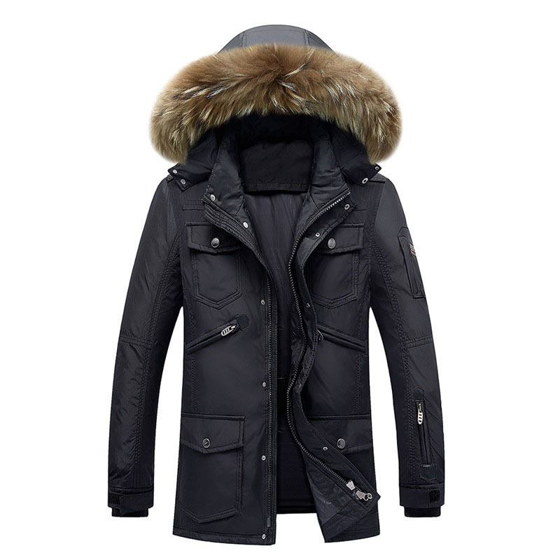 Mens Quilted Jacket 2017 Winter White Duck Down Feather Wadded Coat Thick Warm Faux Fur Hooded Jacket Parka Men High Qulity high end business man white duck down jacket 2016 models 90% white duck down men outdoors with tops in thick warm coat long coat