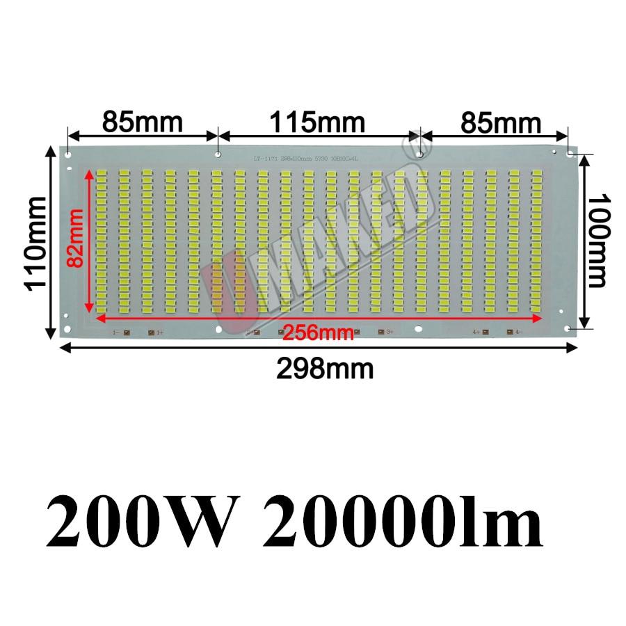 100% Full Power LED Holofote 200 W PCB SMD5730, 298x110mm led placa PCB, branco morno/branco iluminação sourcefor levou holofote - 3