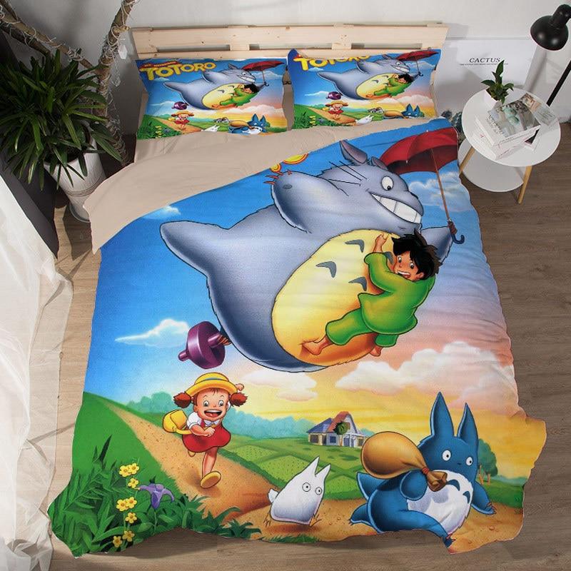 Cartoon Totoro 3D Bedding Set Duvet Covers Pillowcases Comforter Sets Bedclothes Bed Linen Tonari no bedding set