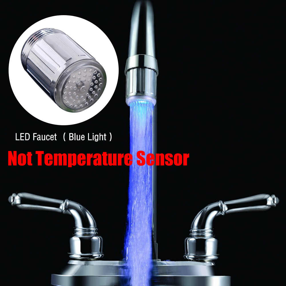 זוהר אור עד LED מים ברז מקלחת ברז אגן מים זרבובית אמבטיה מטבח דוד ברזי תרמוסטט כחול 3 צבע 7 צבעים