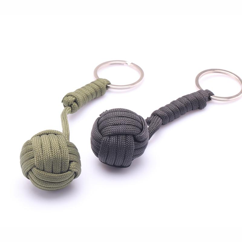 Security protection B039 Black Monkey Fist Steel Ball Bearing Self Defense Lanyard Survival Key Chain