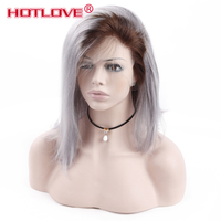 Brazilian Short Bob Wig 1B/Grey Lace Frontal Wigs Pre Plucked With Baby Hair Ombre Color Lace Front Remy Human Hair Wigs Hotlove