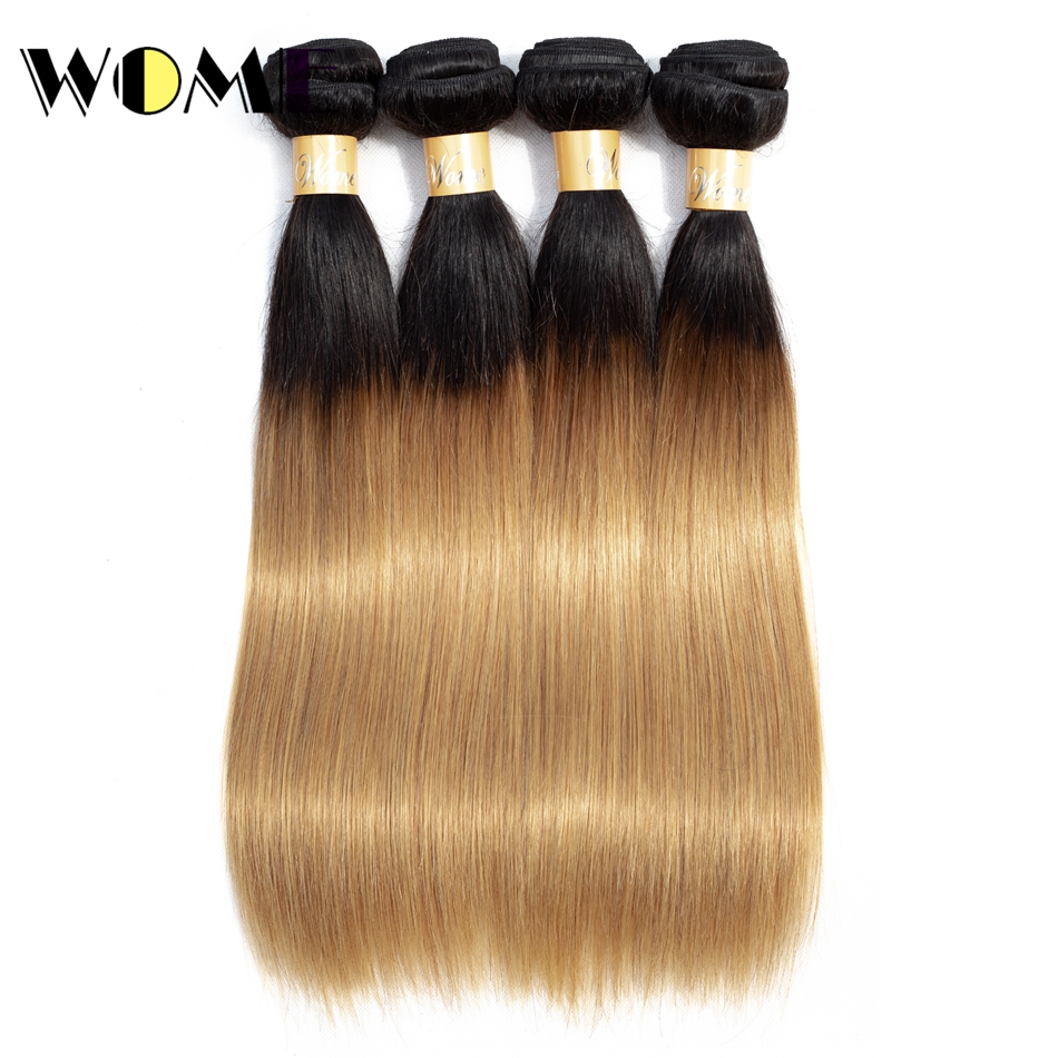 Human Hair Weaves Intelligent Wome Pre-colored 4 Bundles Brazilian Hair Ombre Cheap Straight Hair 4 Bundles 10-26 Inch 100% Human Hair Weave T1b/27 Ombre Hair