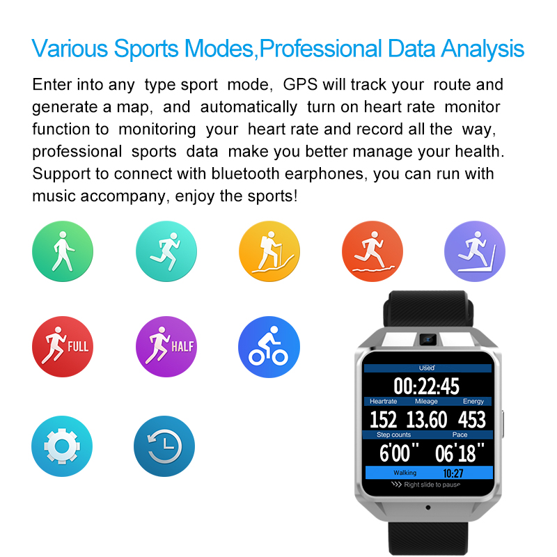 H5 4G Wifi GPS Smart Watch Phone 5MP Camera Quad Core 1.1GHz 1G RAM 8G ROM Compass Heart Rate Pedomete Fashion Sport SmartWatch - 6