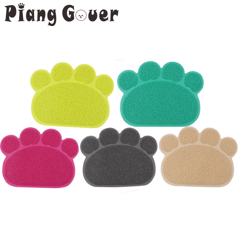 Paw Print Cat Litter Box Small Mat Puppy Kitty Dish Feeding Bowl Placemat Tidy Easy Cleaning Sleeping Pad