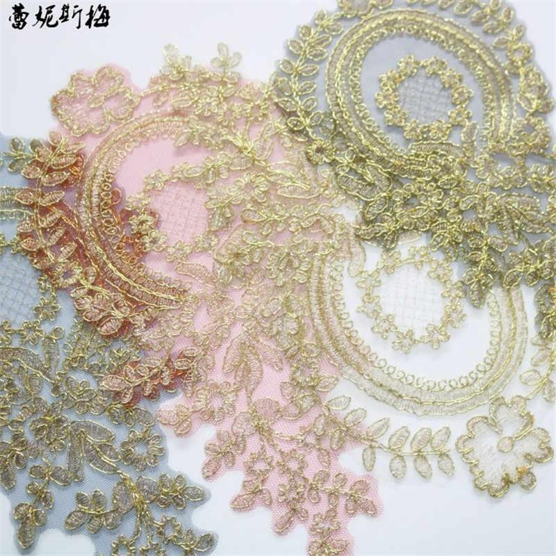 Bộ 5 4 Màu Đỏ, Đen, Xanh Dương champagne Vàng Châu Âu Hoa Handmade Hoa Thêu Ren Táo Vải 28X14cm BD0571