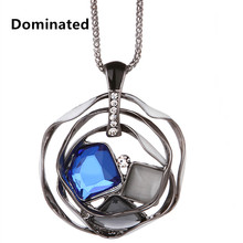 2016 New Arrival Women Pendant Necklaces New Fashion Sweater Chain Crystal  Pendant Necklace Long