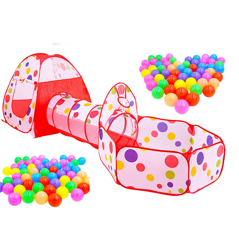 Children's Play House Toy Indoor Outdoor Crawling Tunnel Tent 3 PC Set Ocean Ball Pool Baby Playpen Fence PlayPen