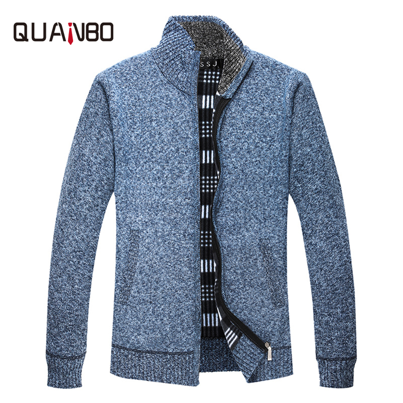 QUNABO 2018 New Arrival Autumn Winter Thick Sweater Men Brand Clothing Men Slim  Fashion Zipper Knitted Sweaters Warm Cardigan