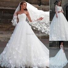 น่าสนใจTulle Sweetheartคอบอลชุดแต่งงานชุดHandmadeผีเสื้อชุดเจ้าสาวงานแต่งงานชุดที่ถอดออกได้แจ็คเก็ต