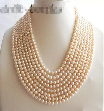 2018 New AAA 8Strands 18 7mm Round White Freshwater Pearl Necklace2018 New AAA 8Strands 18 7mm Round White Freshwater Pearl Necklace