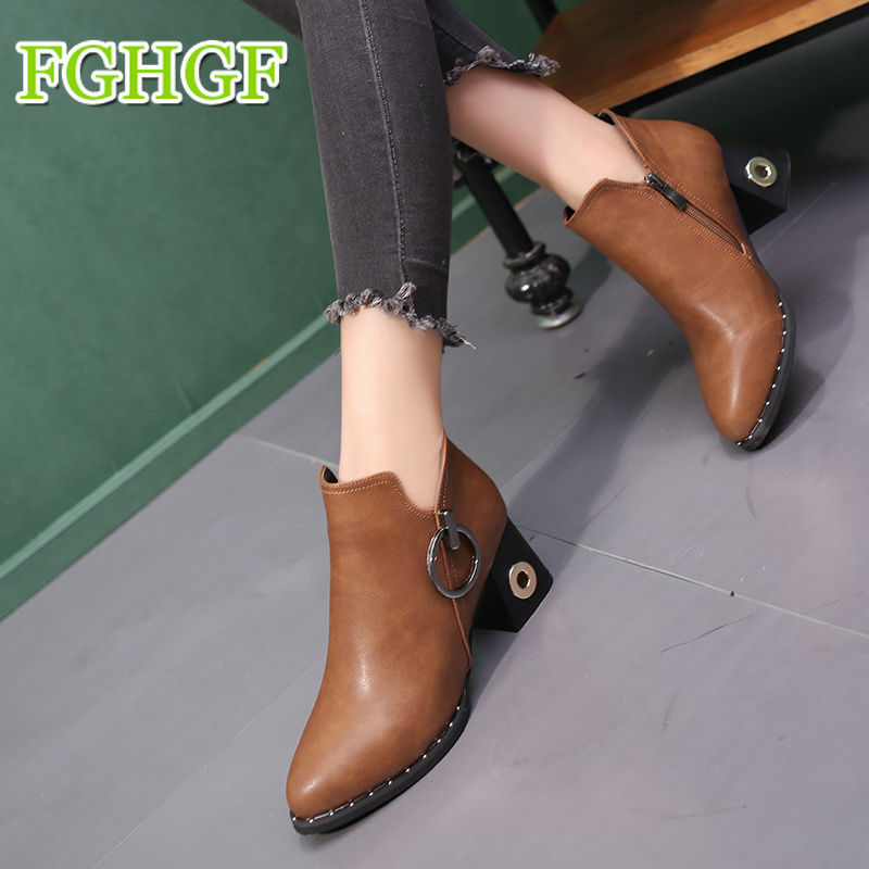 European style contracted Woman British Style Boots Martin Boots Autumn Winter 2018 New High-heeled Shoes fs british style 100