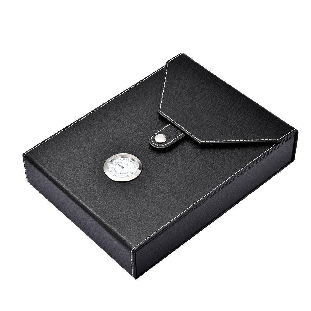 New High Quality Mini Portable Wooden Cigar Humidor Box Leather Cigarette Container Storage Case Black for 8/10 Cigar