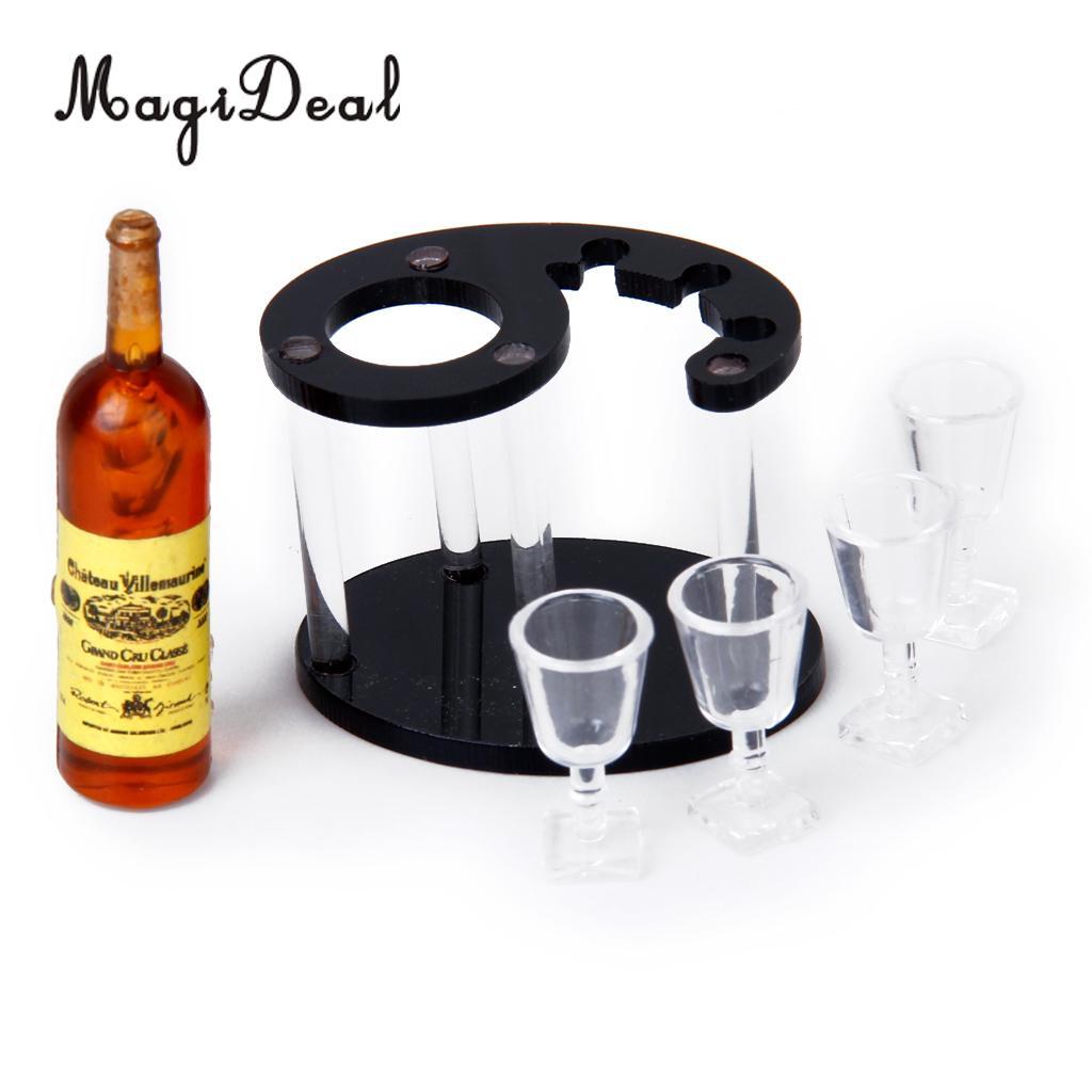 3pcs 1 12 Miniature Glass Wine Bottles Kitchen Dining Room Decor Accessories Dolls Bears Dollhouse Miniatures