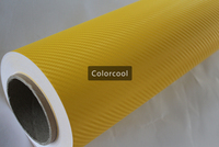 Yellow 3D carbon fiber vinyl film car sticker for automobile and electronics with Air Bubble Free For Car Wrap