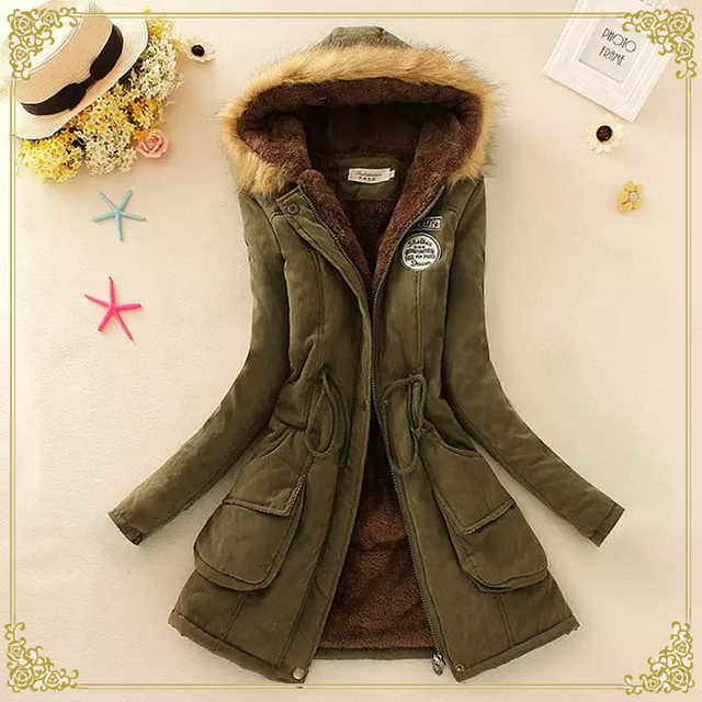 2016 New Winter Womens Parka Casual Outwear Military Hooded Jacket Women Fur Coats Woman Clothes Manteau Femme Cotton Clothing