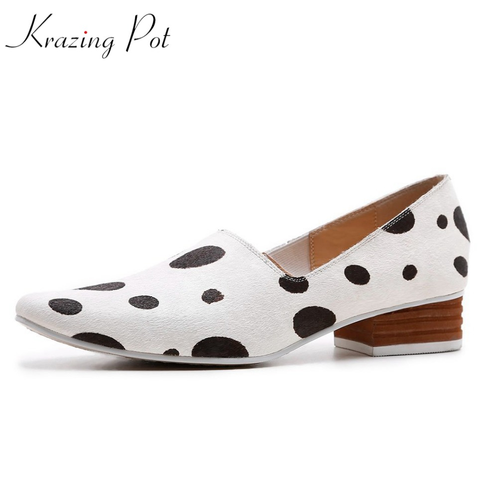 KRAZING POT 2018 horsehair leather shoes streetwear square heels slip on gladiator women pumps square toe cow patterns shoes L18 krazing 2018 pot full grain leather streetwear med heels tassel slip on gladiator women pumps round toe british school shoes l03