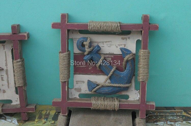 Madera de temática marítima colgando artículos de decoración, cuatro ...