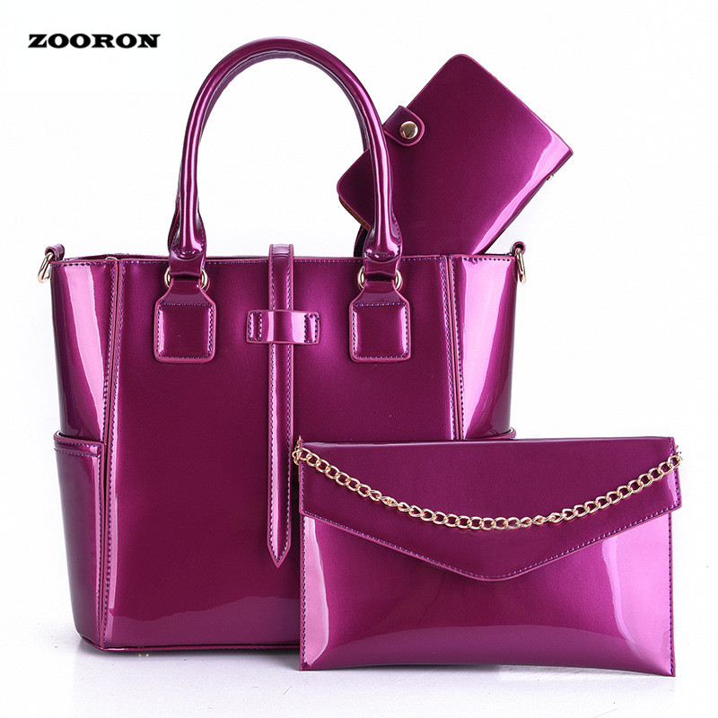 ZOORON 2017 European and American Style Patent Leather Three-Piece Female Handbag Women High-Grade Single Shoulder Bag patent leather handbag shoulder bag for women