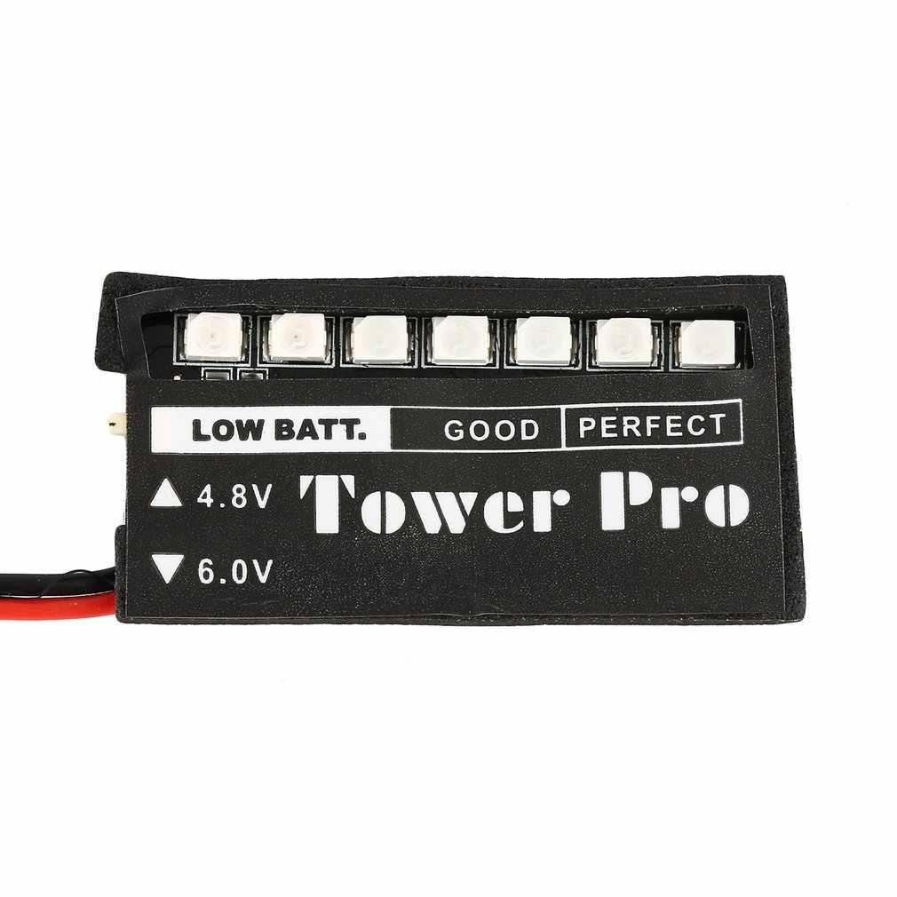 Модель RC 7 светодиодный аккумулятор приемника индикатор напряжения монитор автомобиля Авто 7 светодиодный 4,8 в 6 в Индикатор низкого напряжения