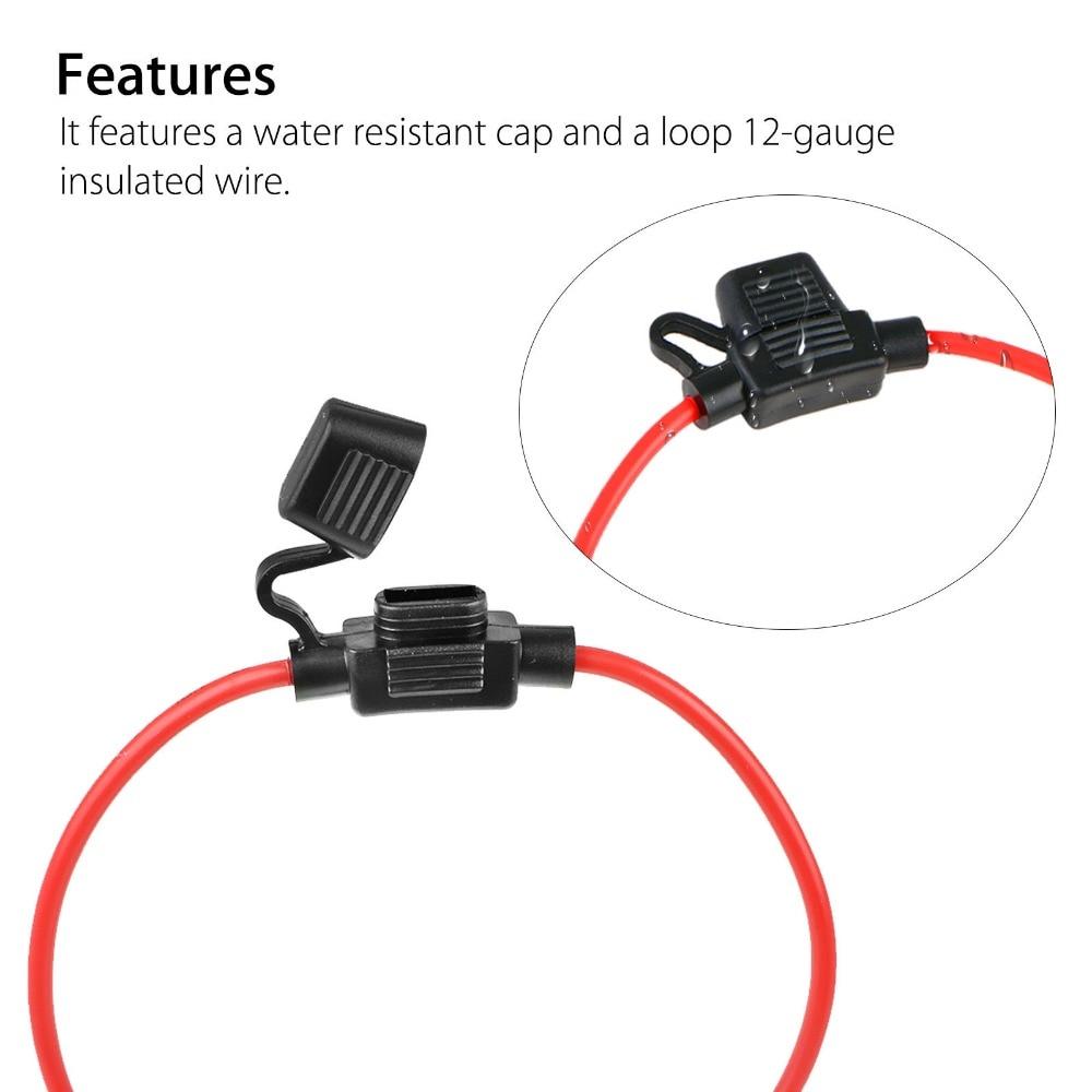 5Pcs 12AWG ATC 30AMP Automotive Waterproof In Line Mini Fuse Holder Blade Set