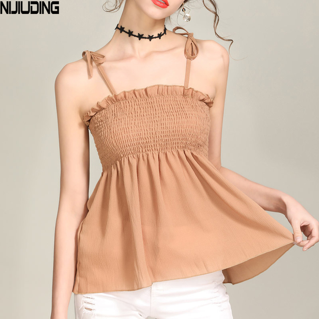 8be9755ebcc NIJIUDING Female Shirts Vest Women Strap Sexy Women Camis Elastic Boob  Bandeau Tube Tops Lingerie Breast Wrap Pleated Doll Tops