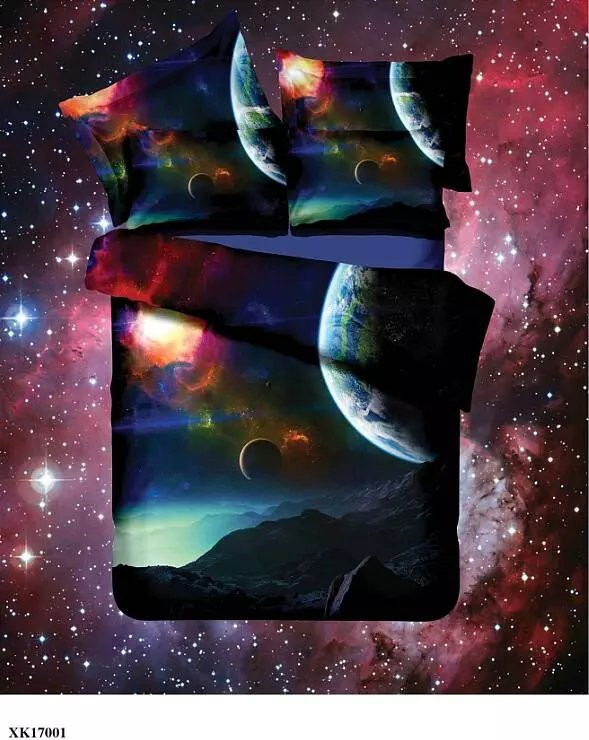 Hot 3d Galaxy bedding sets Twin/Queen Size Universe Outer Space Themed Bedspread 2/3/4pcs Bed Linen Bed Sheets Duvet Cover Set 49