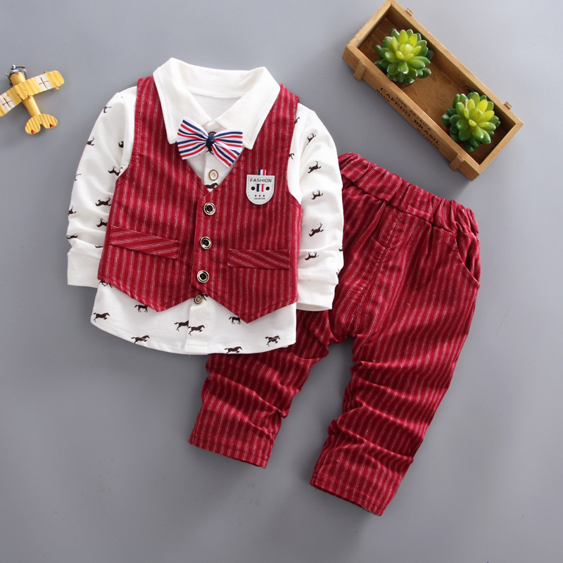 BibiCola Baby Boys Party Clothing Set Kids Boys Spring Autumn Fashion Gentleman Style Clothes Suit Children Long-sleeved Outfits bibicola new spring autumn baby boys clothing set cotton boys t shirts pants sport suit set children gentleman clothes set