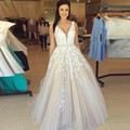 Vestido De Festa Sexy V Neck Lace Long Prom Dresses 2017 New Tulle Beaded Appliques Princess Ball Gown Vintage Evening Dress