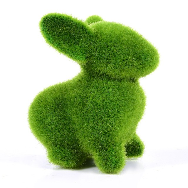 Christmas Handmade Artificial Turf Grass Animal Easter Rabbit Home Office Ornament Room Office Wedding Decor Easter Bunny Party 2