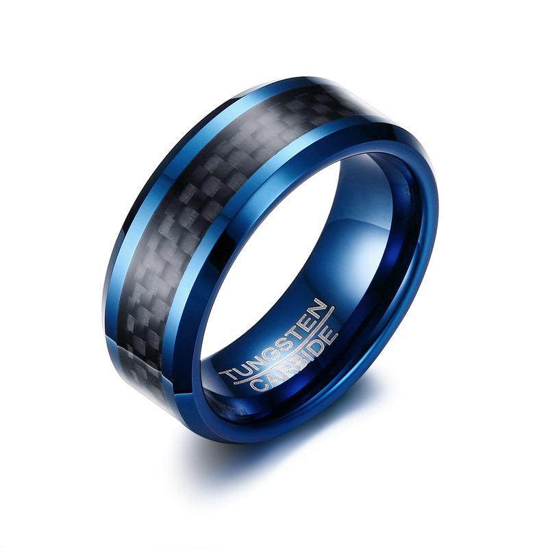 Mens Tungsten Carbide Ring Men Tungsten Carbide Blue Matte Black