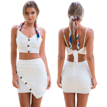 Sexy Club Party Crop Top and Skirt Strapless Co-ord Set 2 Piece Outfits for Women Fashion Festival Sets 2019 Summer Clothing sexy self tie halter open back crop top and elastic waist hotpants co ord page 1