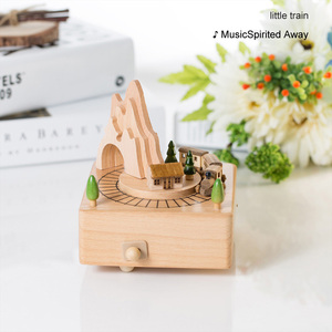 Image 5 - Home Decor Accessories Kawaii Vintage Chirstmas New Year Retro Birthday Gift Wooden Music Box Carousel Musical Boxes Hand Crank