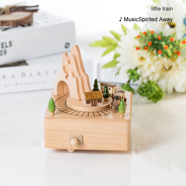 Home Decor Accessories Kawaii Vintage Chirstmas New Year Retro Birthday Gift Wooden Music Box Carousel Musical Boxes Hand Crank 5