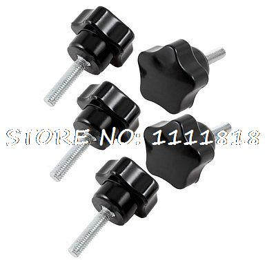 M6 x 25mm Male Thread 30mm Dia Star Shaped Head Clamping Screw Knob 5 Pcs розетка tv fm unica schneider electric 1265696