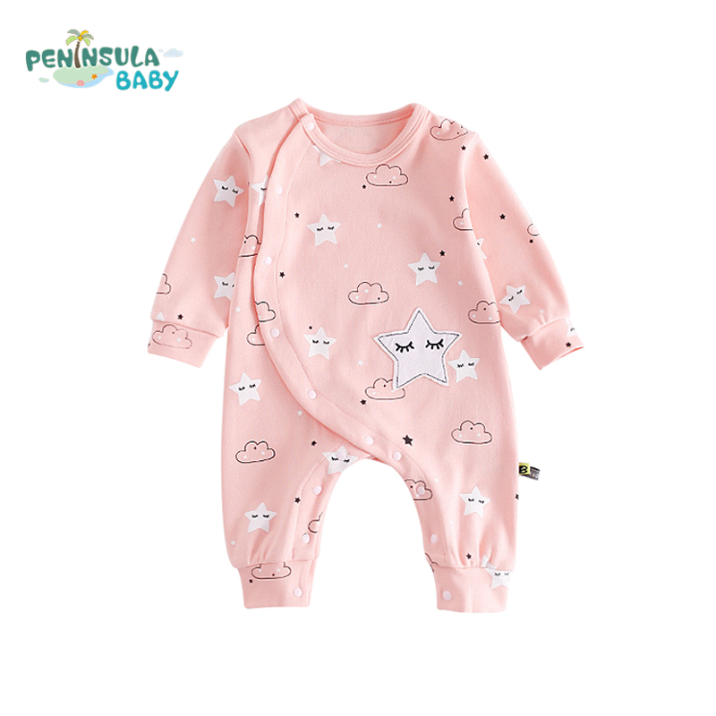 Newborn Baby Rompers Autumn Cartoon Cute Stars Clouds Print Infant Long Sleeve O-Neck Jumpsuit Cotton Boys Girls Clothes baby rompers cartoon cotton children clothing 2016 newborn boys girl clothes underwear spring autumn infant jumpsuit long sleeve