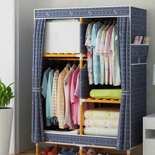 Wood Easy Assembly Quarter Wardrobe DIY Oxford Cloth Fold Portable Storage  Cabinet CH0336(China)
