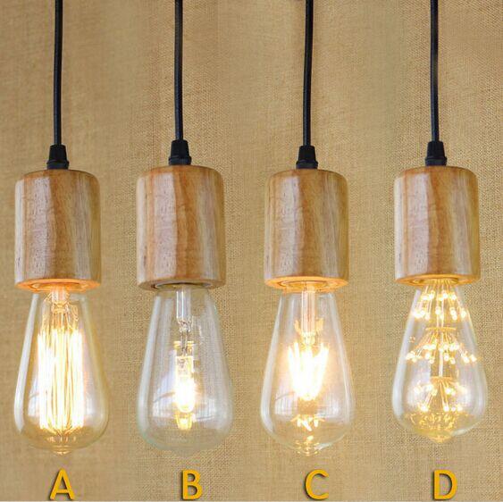 ФОТО Industrial Vintage Pendant Lights Indoor Lighting ,Wood Retro Loft Style Pendant Lamps,Lustres E Pendente De Teto