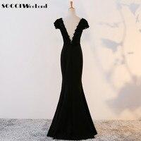 SOCCI Weekend Vintage Long Evening Dress 2017 Black Lace Trumpet V Neck Backless Prom Gown Formal