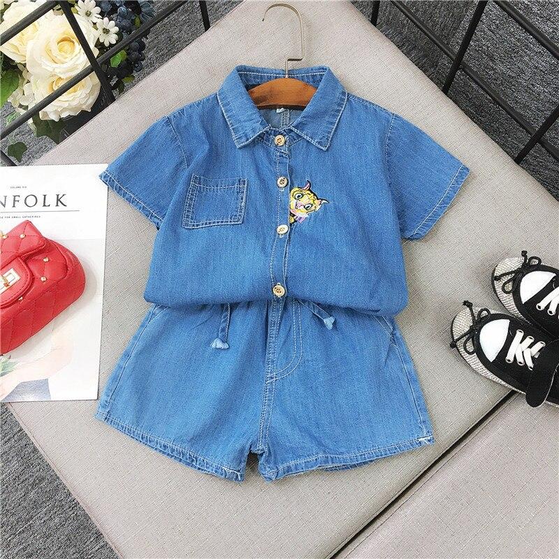 summer Children Kids babys sweet Girls Cartoon cat embroidery short sleeve denim shirt+shorts 2pcs Clothing Sets Suits C349