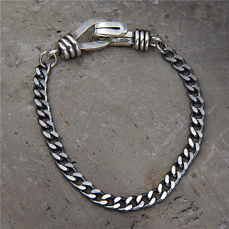 Solid Sterling Silver 5mm Cuban Link Chain Mens Bracelet Easy Hook Handmade Thai Silver 925 Cool Mens Jewelry, 19cm 21cm 23cm 8mm solid pure sterling silver 925 mens chain bracelet simple cool style thai silver mens jewelry polished link chain free box